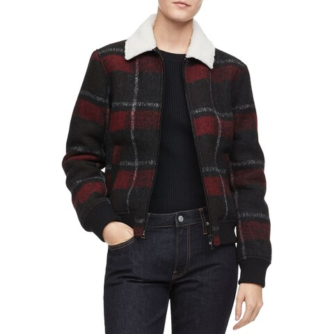 Calvin Klein Red Womens Size XS Zip-Front Plaid Lined Chore Jacket