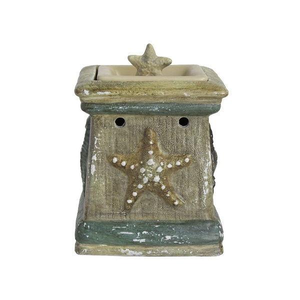 Home Indoor Decorative Scented By The Sea Full Size Ceramic Wax Warmer - Cream - N/A