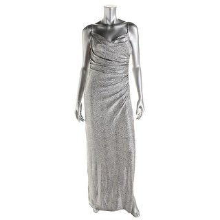 Laundry by Shelli Segal Womens Metallic Ruched Evening Dress - 0
