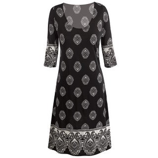 Women's Paisley Medallion Dress - Scoop Neck 3/4 Sleeves  - Black/White