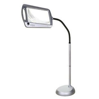 Floor Standing LED Lighted Magnifier - Adjustable 3X Power Reading Crafting Aid - Silver - 47 in. x 23 in. x 12.25 in.