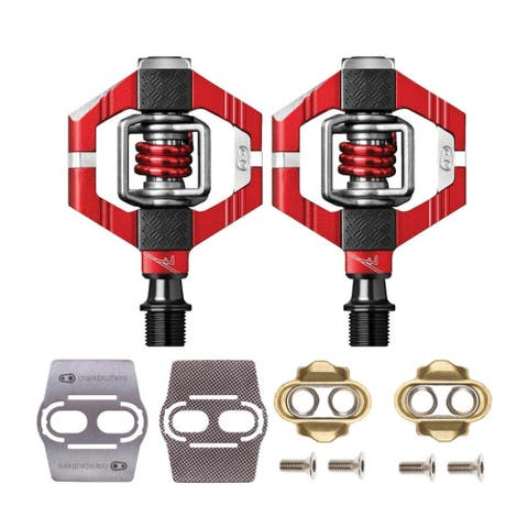 Crank Brothers Candy 7 Bike Pedals (Red) with Cleats and Shoe Shields