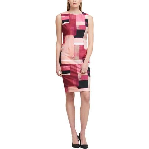 DKNY Womens Scuba Dress Colorblock Sleeveless