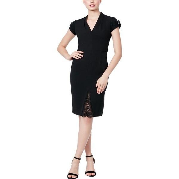 Betsey Johnson Womens Midi Dress Scuba Crepe Lace