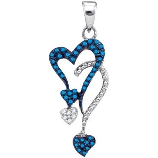 Heart Chandlier Pendant 10K White-gold With Blue Diamonds 0.2 Ctw By MidwestJewellery