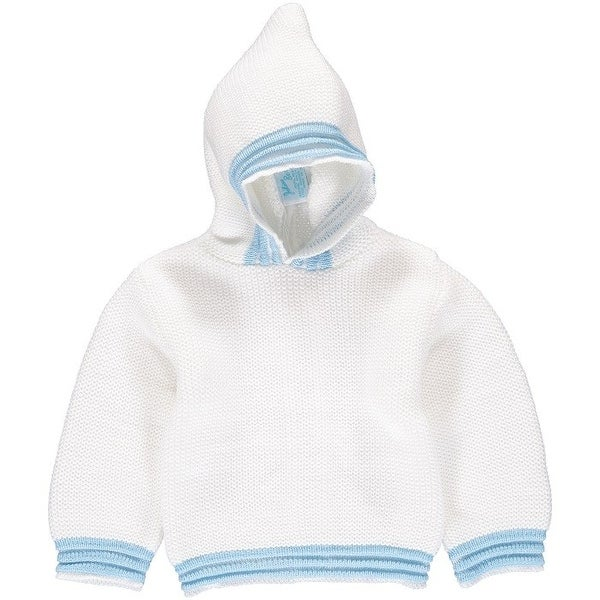 Julius Berger Baby Boys White Blue Stitch Detail Hooded Zip Back Sweater