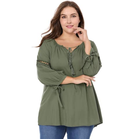 Women Plus Size Raglan Sleeves Hollow Out Tie Neck Tunic Top