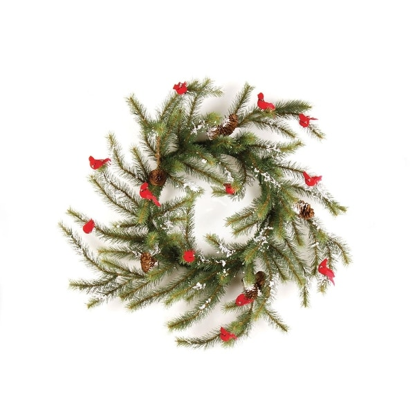 "24"" Country Cabin Glittered Cardinal Snow Pine Artificial Christmas Wreath - Unlit"