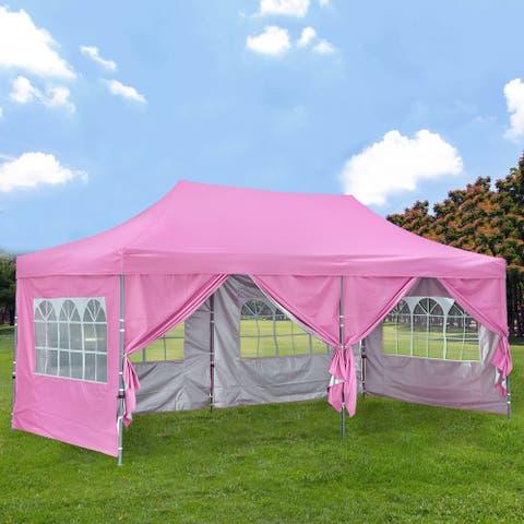 Ainfox 10x20Ft Pop up Canopy Tent with 4 Removable Sidewalls for Parties, Gathering
