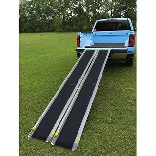 Gymax Aluminum 4' - 7' Adjustable Non-skid Loading Wheelchair Telescoping Track Ramp - as pic