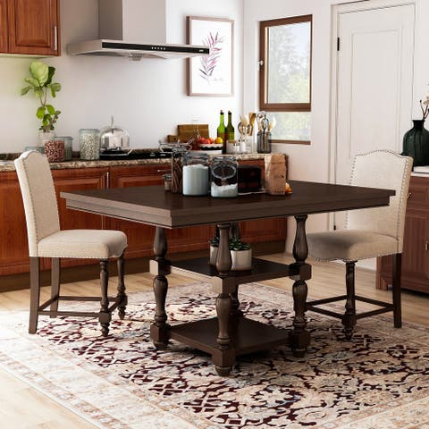 Furniture of America Ketz Transitional Cherry 3 Piece Kitchen Island Set