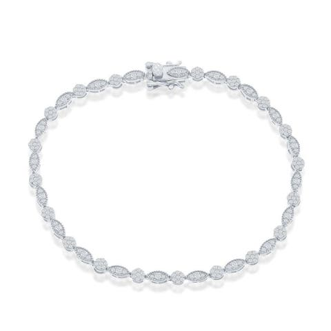 La Preciosa Round and Marquise Simulated Diamond CZ 7.5 Engagement Tennis Bracelet Silver/14K Gold Sterling Silver Jewelry