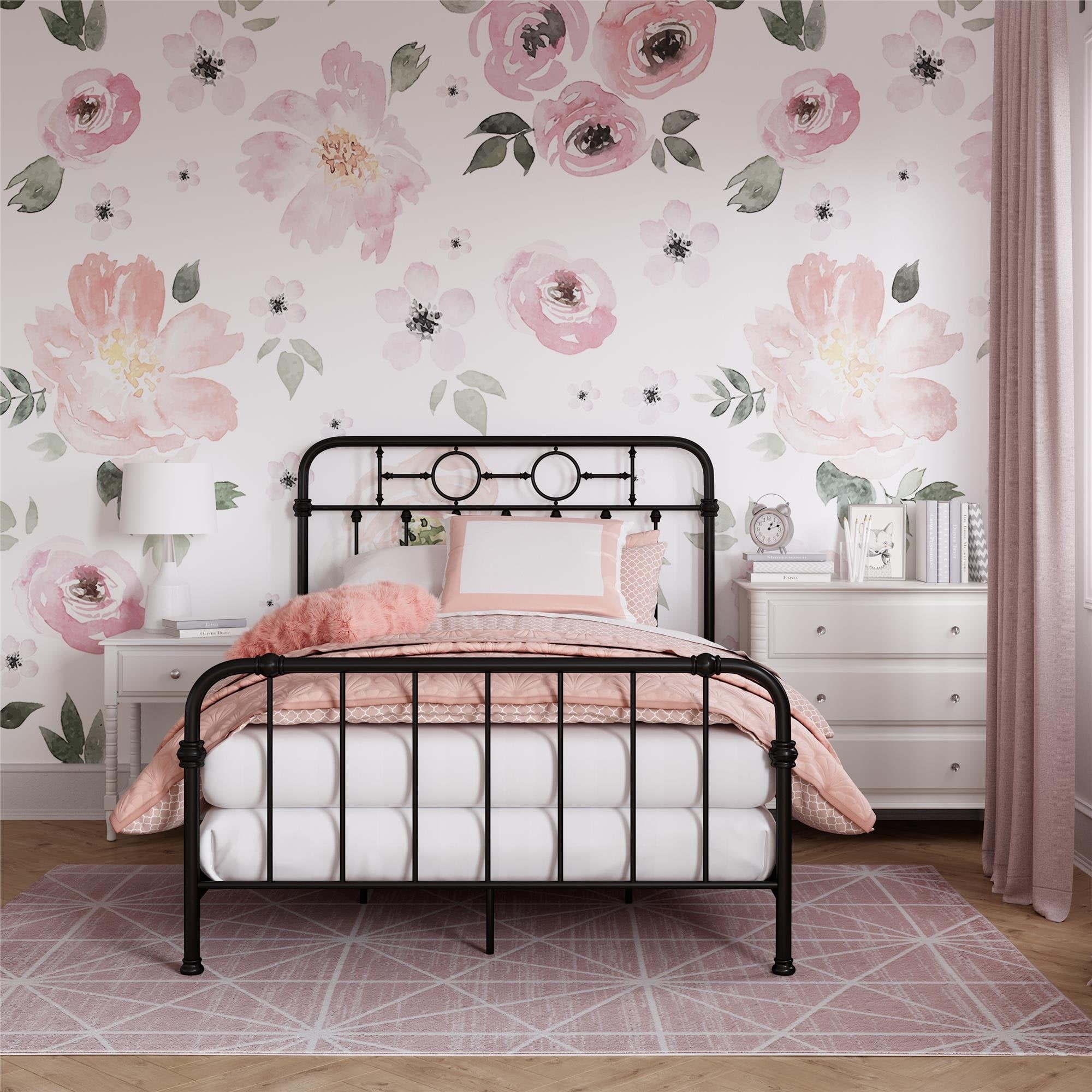 Little Seeds Willow Black Metal Kids Full Size Bed Overstock 28587461