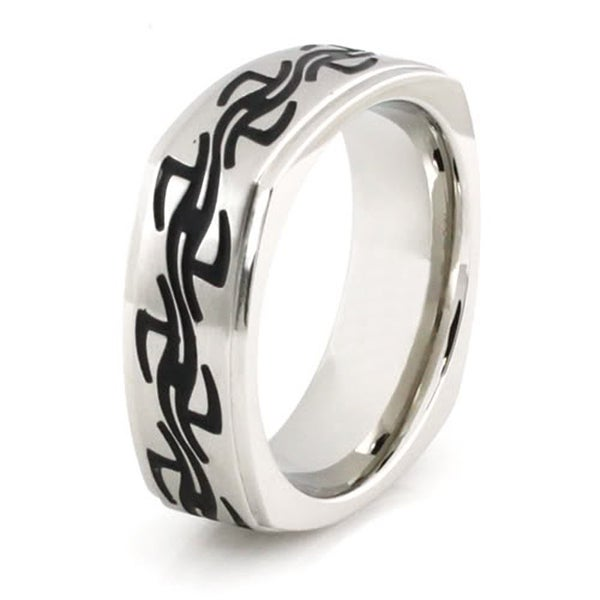 Squared Stainless Steel Ring w/ Barbed Wire Design