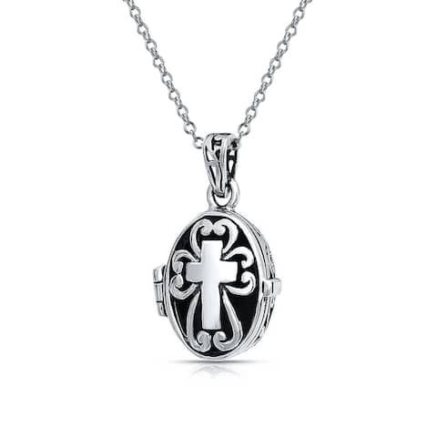 Delicate Religious Christian Oval Cross Prayer Box Locket Holds Photo For Women Diffuser Perfumer Pendant 925 Silver - 18