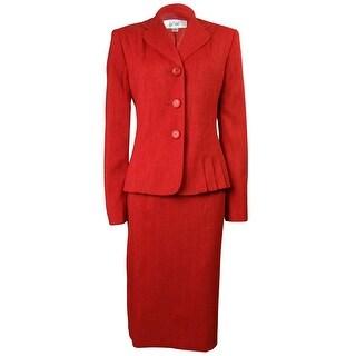 Le Suit Women's Napa Valley Pleated Skirt Suit - Poppy (Option: 6)