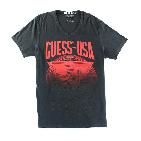All Mens Sale Guess >> Guess New Black Phantom Mens Size Medium M Logo Graphic V Neck T Shirt