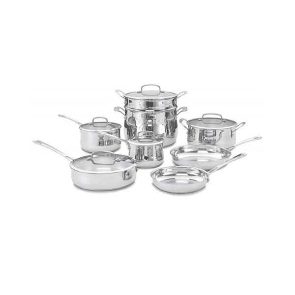 Cuisinart Contour Brushed Stainless Steel 13-piece Cookware Set. Opens flyout.