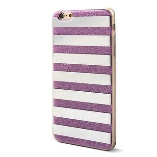 Unique BargainsCell Phone Horizontal Stripes Pattern Rear Glitter Case Purple for iphone 6 Plus