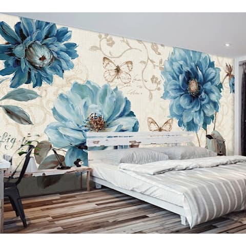 Turquoise Peony Floral REMOVABLE TEXTILE Wallpaper