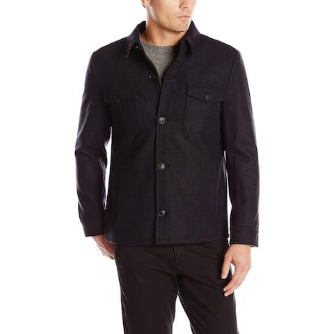 Haggar Mens Coat Black Size Medium M Eastland Button-Front Wool