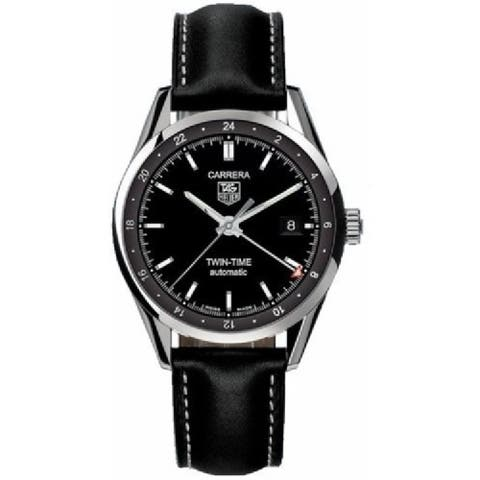 Tag Heuer Men's WV2115.FC6202 'Carrera' Black Leather Watch