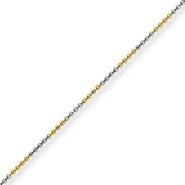 Chisel White and Yellow Rhodium over Brass 1.50mm 2 Color plated Ball Chain - 16 Inches (1.5 mm) - 16 in
