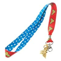 Wonder Woman Lanyard with Metal Charm and Clear ID Holder - One Size Fits Most