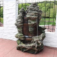 Sunnydaze Flat Rock Summit Large Outdoor Waterfall Fountain - 61-Inch Tall