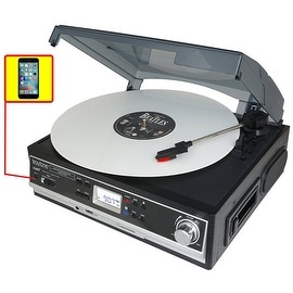 Boytone BT-16DJB-C 3-speed Stereo Turntable with 2 Built in Speakers Digital LCD Display + Supports USB/SD/AUX+ Cassette/MP3 & W