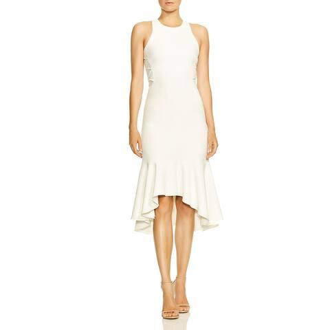 Halston Womens Flounce Dress Hi-Low Paneling - White