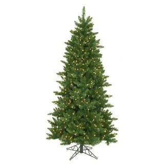 7.5' Green Pre-Lit Eastern Pine Slim Artificial Christmas Tree - Clear Lights