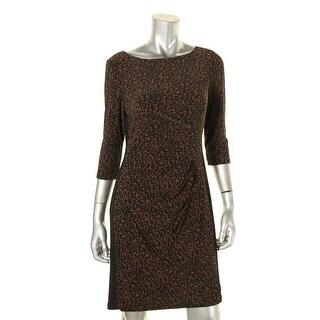 Lauren Ralph Lauren Womens Petites Wear to Work Dress Ruched Printed