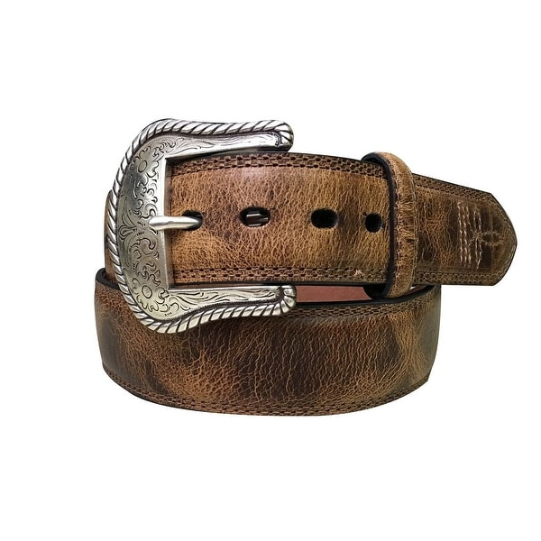 Dan Post Western Belt Mens Padded Stitched Brown