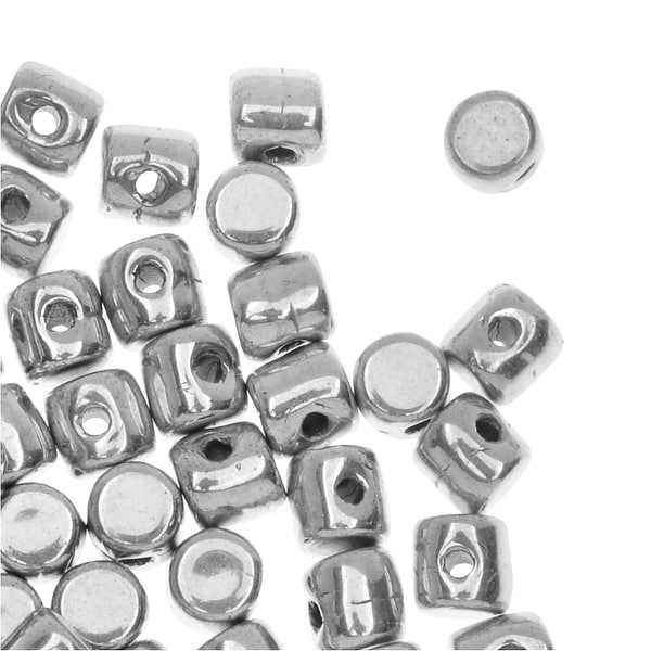 Czech Glass Minos par Puca, Cylindrical Beads 2.5x3mm, 120 Pieces, Argentees Silver