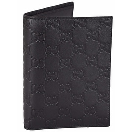 NEW Gucci Men's 346079 Black Leather GG Guccissima Passport Holder Bifold Wallet