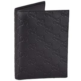 Gucci Men's 346079 Black Leather GG Guccissima Passport Holder Bifold Wallet