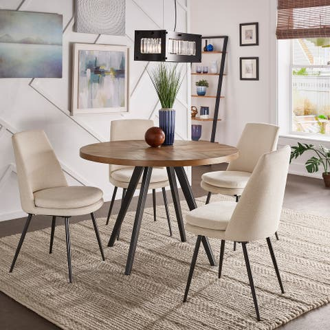 Saki Black Finish Chenille Fabric 5-Piece Dining Set by iNSPIRE Q Modern