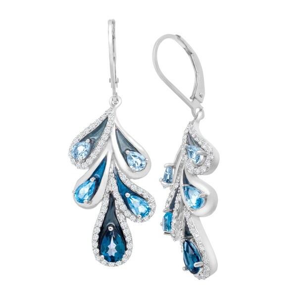 3 5/8 ct London, Swiss & Sky Blue Topaz Drop Earrings in Sterling Silver