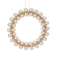 "5"" Glamour Time Gold Rhinestone and Pearl Christmas Wreath Ornament - WHITE"