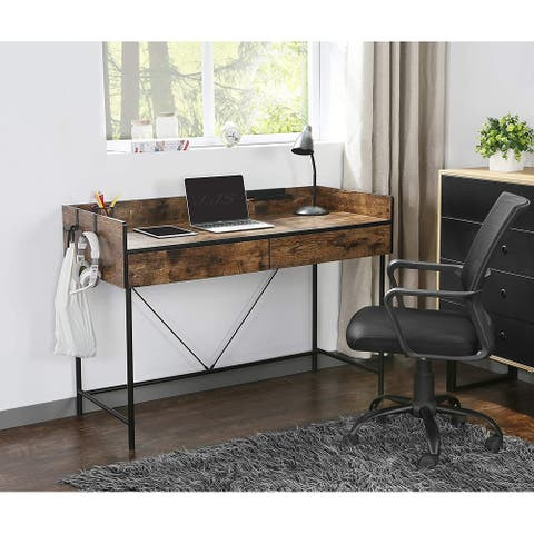 """JJS 48"""" Home Office Rustic Computer Laptop Desk with Drawers"""