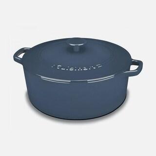 Cuisinart CI670-30BG Chef's Classic Enameled Cast Iron 7-Quart Round Covered Casserole, Provencial Blue