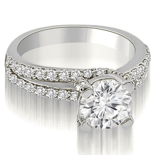 1.50 cttw. 14K White Gold Two Row Lucida Round Cut Diamond Engagement Ring