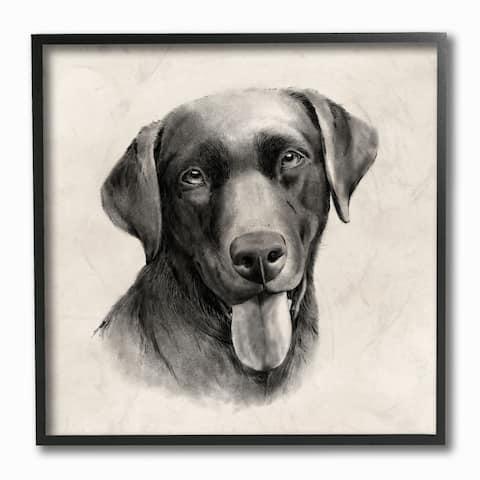 Stupell Industries Vintage Sepia Tone Black Labrador Dog Portrait Framed Wall Art,12x12 - Grey