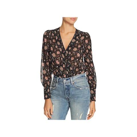 JOA Womens Bodysuit Floral Glitter