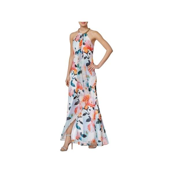 Shop Calvin Klein Womens Evening Dress Floral Print Halter - Free ... fa97eaff38