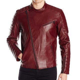 Calvin Klein NEW Red Faux-Leather Mens Size Medium M Motorcycle Jacket