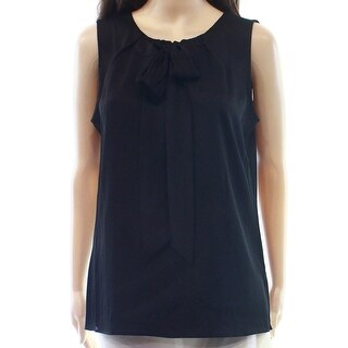 Tommy Hilfiger NEW Black Womens Size Medium M Tie-Neck Pleated Blouse