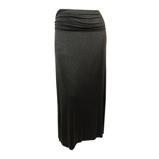 Studio M Women's Slit-Side Ruched-Waist Knit Skirt - Heather Charcoal - L