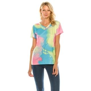 Link to Haute Edition Women's V Neck Tie Dye Prints Tee Similar Items in Loungewear